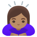 Woman Bowing: Medium Skin Tone on Google Android 11.0 December 2020 Feature Drop