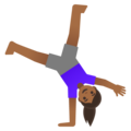 Woman Cartwheeling: Medium-Dark Skin Tone on Google Android 11.0 December 2020 Feature Drop