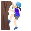 Woman Climbing: Light Skin Tone on Google Android 11.0 December 2020 Feature Drop