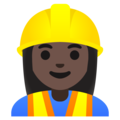 Woman Construction Worker: Dark Skin Tone on Google Android 11.0 December 2020 Feature Drop