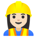 Woman Construction Worker: Light Skin Tone on Google Android 11.0 December 2020 Feature Drop