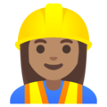 Woman Construction Worker: Medium Skin Tone on Google Android 11.0 December 2020 Feature Drop