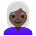 Woman: Dark Skin Tone, White Hair on Google Android 11.0 December 2020 Feature Drop