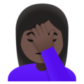 Woman Facepalming: Dark Skin Tone on Google Android 11.0 December 2020 Feature Drop