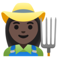 Woman Farmer: Dark Skin Tone on Google Android 11.0 December 2020 Feature Drop