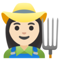 Woman Farmer: Light Skin Tone on Google Android 11.0 December 2020 Feature Drop