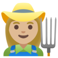 Woman Farmer: Medium-Light Skin Tone on Google Android 11.0 December 2020 Feature Drop