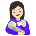 Woman Feeding Baby: Light Skin Tone on Google Android 11.0 December 2020 Feature Drop