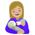 Woman Feeding Baby: Medium-Light Skin Tone on Google Android 11.0 December 2020 Feature Drop