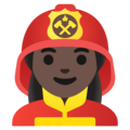 Woman Firefighter: Dark Skin Tone on Google Android 11.0 December 2020 Feature Drop