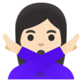 Woman Gesturing No: Light Skin Tone on Google Android 11.0 December 2020 Feature Drop