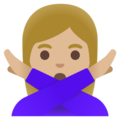 Woman Gesturing No: Medium-Light Skin Tone on Google Android 11.0 December 2020 Feature Drop