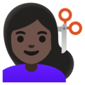 Woman Getting Haircut: Dark Skin Tone on Google Android 11.0 December 2020 Feature Drop