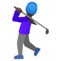 Woman Golfing: Dark Skin Tone on Google Android 11.0 December 2020 Feature Drop