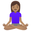 Woman in Lotus Position: Medium Skin Tone on Google Android 11.0 December 2020 Feature Drop