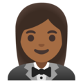Woman in Tuxedo: Medium-Dark Skin Tone on Google Android 11.0 December 2020 Feature Drop