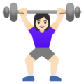 Woman Lifting Weights: Light Skin Tone on Google Android 11.0 December 2020 Feature Drop