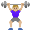 Woman Lifting Weights: Medium-Light Skin Tone on Google Android 11.0 December 2020 Feature Drop