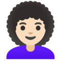 Woman: Light Skin Tone, Curly Hair on Google Android 11.0 December 2020 Feature Drop