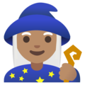 Woman Mage: Medium Skin Tone on Google Android 11.0 December 2020 Feature Drop