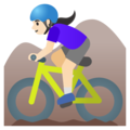 Woman Mountain Biking: Light Skin Tone on Google Android 11.0 December 2020 Feature Drop