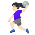 Woman Playing Handball: Light Skin Tone on Google Android 11.0 December 2020 Feature Drop