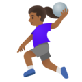 Woman Playing Handball: Medium-Dark Skin Tone on Google Android 11.0 December 2020 Feature Drop