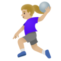 Woman Playing Handball: Medium-Light Skin Tone on Google Android 11.0 December 2020 Feature Drop