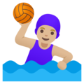 Woman Playing Water Polo: Medium-Light Skin Tone on Google Android 11.0 December 2020 Feature Drop