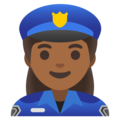 Woman Police Officer: Medium-Dark Skin Tone on Google Android 11.0 December 2020 Feature Drop