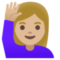 Woman Raising Hand: Medium-Light Skin Tone on Google Android 11.0 December 2020 Feature Drop
