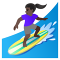 Woman Surfing: Dark Skin Tone on Google Android 11.0 December 2020 Feature Drop