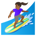 Woman Surfing: Medium-Dark Skin Tone on Google Android 11.0 December 2020 Feature Drop