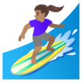 Woman Surfing: Medium Skin Tone on Google Android 11.0 December 2020 Feature Drop
