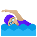 Woman Swimming: Medium-Light Skin Tone on Google Android 11.0 December 2020 Feature Drop