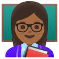 Woman Teacher: Medium-Dark Skin Tone on Google Android 11.0 December 2020 Feature Drop