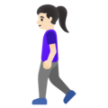 Woman Walking: Light Skin Tone on Google Android 11.0 December 2020 Feature Drop