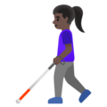 Woman with White Cane: Dark Skin Tone on Google Android 11.0 December 2020 Feature Drop
