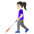 Woman with White Cane: Light Skin Tone on Google Android 11.0 December 2020 Feature Drop