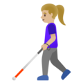 Woman with White Cane: Medium-Light Skin Tone on Google Android 11.0 December 2020 Feature Drop