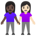 Women Holding Hands: Dark Skin Tone, Light Skin Tone on Google Android 11.0 December 2020 Feature Drop