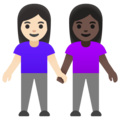 Women Holding Hands: Light Skin Tone, Dark Skin Tone on Google Android 11.0 December 2020 Feature Drop