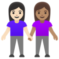 Women Holding Hands: Light Skin Tone, Medium Skin Tone on Google Android 11.0 December 2020 Feature Drop