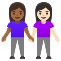 Women Holding Hands: Medium-Dark Skin Tone, Light Skin Tone on Google Android 11.0 December 2020 Feature Drop