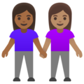 Women Holding Hands: Medium-Dark Skin Tone, Medium Skin Tone on Google Android 11.0 December 2020 Feature Drop