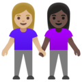 Women Holding Hands: Medium-Light Skin Tone, Dark Skin Tone on Google Android 11.0 December 2020 Feature Drop
