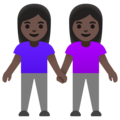 Women Holding Hands: Dark Skin Tone on Google Android 11.0 December 2020 Feature Drop