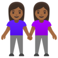 Women Holding Hands: Medium-Dark Skin Tone on Google Android 11.0 December 2020 Feature Drop