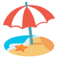 Beach with Umbrella on Google Android 12.0