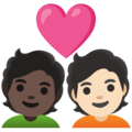Couple with Heart: Person, Person, Dark Skin Tone, Light Skin Tone on Google Android 12.0
